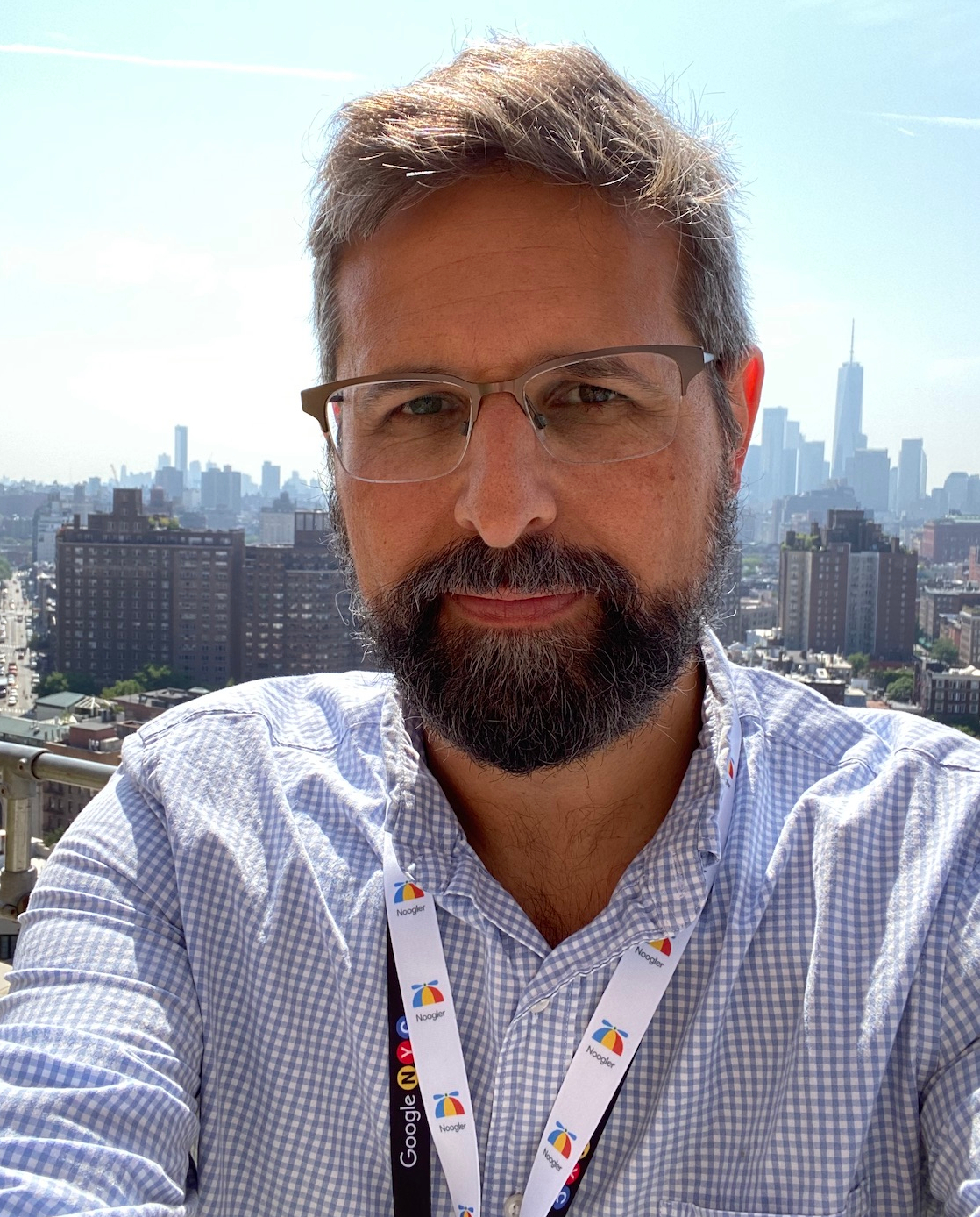 Selfie of Jeff on his first day at Google NYC, on the terrace with the Freedom Tower in the background